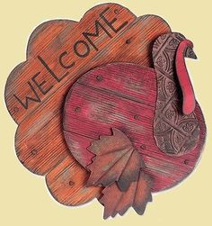Loving this Turkey 'Welcome' Sign on SLV: add leaves to my pallet turkey Thanksgiving Wood Crafts, Fall Wood Crafts, Pallet Crafts, Thanksgiving Decorations, Turkey Decorations, Thanksgiving Signs, Kids Crafts, Fall Halloween, Halloween Crafts