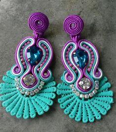 long earrings with aquamarine torchon Soutache Bracelet, Soutache Jewelry, Boho Jewelry, Jewelery, Handmade Jewelry, Fashion Jewelry, Women Jewelry, Tassel Earrings, Beaded Necklace