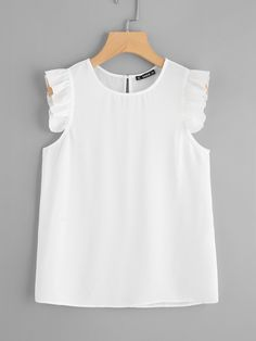 Shop Frilled Armhole Button Closure Back Shell Top online. SheIn offers Frilled Armhole Button Closure Back Shell Top & more to fit your fashionable needs. Baby Dress Design, Girl Outfits, Fashion Outfits, Plain Tops, Shell Tops, Fashion 101, Crop Shirt, Blouse Styles, Dress Patterns