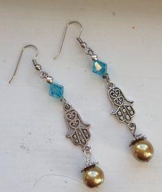 Beautiful Filigree Silver Hamsa Drop by goldenhandscreations, $12.00