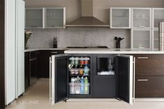 """Solid Door refrigeration and the new 18"""" Clear Ice Machine from U-Line. A perfect pair for any island."""