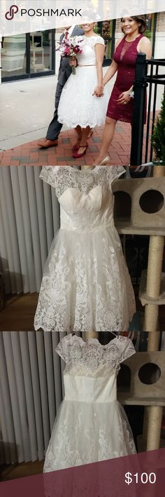 """ModCloth Like New Wedding Dress Like new clean wedding dress 👰🏽 Only worn once (no bad luck, I'm happily married). It is a size 4. I'm 5'2"""", 120 LB's, 32C bra size. Beautiful details! Modcloth Dresses Wedding"""