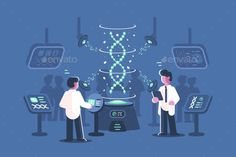 Buy Genetics Doctors Researching DNA in Laboratory by on GraphicRiver. Genetics doctors researching dna in laboratory vector illustration. Two men in science lab with special equipments fo. Technology Lessons, Computer Technology, Amazing Drawings, Colorful Drawings, Dna Research, App Background, Arte Cyberpunk, Simple Colors, Flat Illustration