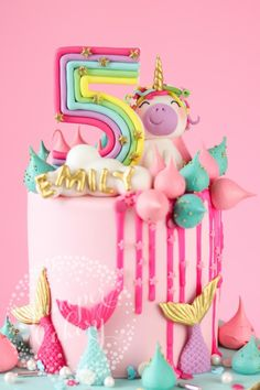 Magically fun Rainbow Unicorn and Mermaid Birthday Cake! - Magically fun Rainbow Unicorn and Mermaid Birthday Cake! 5th Birthday Cake, Mermaid Birthday Cakes, Mermaid Cakes, Unicorn Birthday Parties, Birthday Ideas, Rainbow Birthday Cakes, Princess Birthday Cakes, Birthday Cakes For Girls, Cakes For Kids