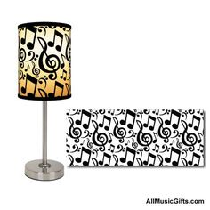 What a cool lamp! ... from drumbum.com. Music notes lamp shade on a modern style lamp. A great gift idea for musicians or anyone that loves music.