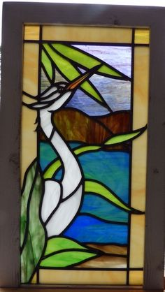 Arts and Crafts Egret Bird Leaded Stained Glass Window | eBay
