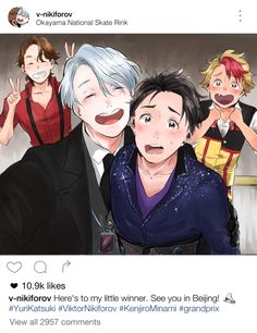 """a-zebra-was-here: """" i've been dying to do an instagram post for yuri on ice ever since i saw the ending i hope u like it c: """""""