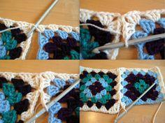 Transcendent Crochet a Solid Granny Square Ideas. Inconceivable Crochet a Solid Granny Square Ideas. Granny Square Crochet Pattern, Crochet Squares, Crochet Granny, Crochet Stitches, Knit Crochet, Crochet Patterns, Joining Granny Squares, Sunburst Granny Square, Granny Square Projects