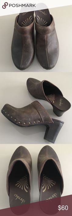 """Dansko Rae Brown Crazy Horse Clogs New! Never worn! DANSKO  Rae Brown Leather Platform Clog/mules. Open-back high heel clog, features nail accents and is set in high quality leather. Has a contoured footbed and flexible fore part provides all day comfort.  40 European 3.5"""" Wood High Heel Dansko Shoes Mules & Clogs"""