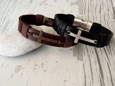 Hey, I found this really awesome Etsy listing at https://www.etsy.com/listing/491000385/black-leather-cross-braceletunisex-cross
