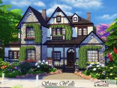 Stone Walls is a big house in Tudor style built on 40x30 lot in Willow Creek.  Found in TSR Category 'Sims 4 Residential Lots'