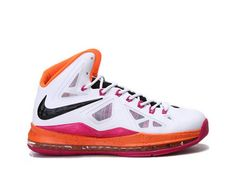 Nike LeBron 10 Floridians Home,Style code:541100-108,It comes in a white hyperfuse upper with orange inner lining and midsole, while black color was used in tongue and Nike swoosh. The pink accents on lace holes, midsole and outsole make the shoe much more vibrant. You can find the diamond designs on swoosh, midsole and more. The flywire technology was also used in the shoe in order to enhance the stability and durability.