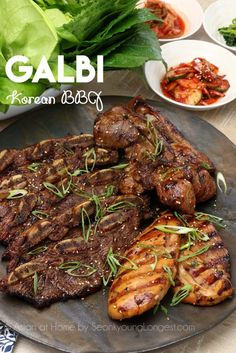 Galbi (Kalbi) is Korean marinated rib BBQ. Mostly beef or pork ribs are used for this particular dish, but there is no rule what cut of meat you… Bbq Recipes Video, Beef Recipes, Cooking Recipes, Smoker Recipes, Grilling Recipes, Cooking Tips, Chicken Recipes, Boneless Beef Short Ribs, Korean Recipes