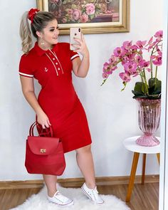 plus size outfits for work womens clothes Vestidos Polo, Casual Dresses For Women, Short Sleeve Dresses, Dress Outfits, Fashion Dresses, Beach Wear Dresses, Luxury Dress, Casual Looks, Plus Size Outfits