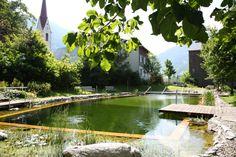 Etang de baignade à l'hôtel Krone in Au (Bregenzerwald, Vorarlberg) Spa, Nature, Pools, Organic, Gardens, Swim, Modernism, Italy, Travel