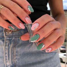 Nail Design Stiletto, Nail Design Glitter, Nails Design, Cute Acrylic Nails, Acrylic Nail Designs, Pastel Nails, Rainbow Nail Art Designs, Chic Nail Designs, Cute Gel Nails