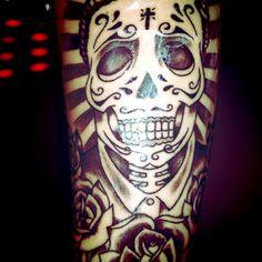 New #tattoo ! By Anem #sugarskull #skull