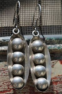 Vintage Mexican Taxco Hand Made Sterling Silver ORB Modernist Pierced Earrings | eBay