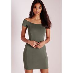 Missguided Bardot Bodycon Jersey Dress ($14) ❤ liked on Polyvore featuring dresses, khaki, body con dress, khaki dress, missguided dress, jersey cocktail dress and bodycon dress
