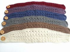 crochet headband patterns with button | Star Stitch Wide Crochet Headband with large button closure ...