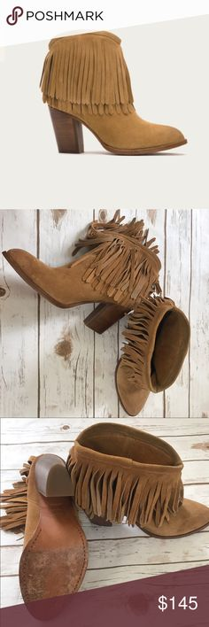 Frye fringe ankle boots size 9 These are beautiful frye ankle boots. Great condition, only wear is on the soul pictured! Frye Shoes Ankle Boots & Booties