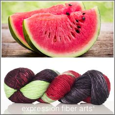 Expression Fiber Arts, Inc. - WATERMELON MEDLEY SUPERWASH MERINO SILK PEARLESCENT WORSTED YARN, $30.00 (http://www.expressionfiberarts.com/products/watermelon-medley-superwash-merino-silk-pearlescent-worsted.html)