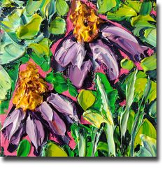 Echinacea Painting B Sasik Original Oil Painting  Garden by bsasik, $59.00