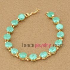 Beautiful light green color zirconia decorated bracelet
