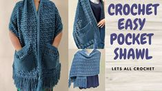 Crochet Cardigan, Crochet Scarves, Crochet Clothes, Crochet Square Patterns, Shawl Patterns, Easy Crochet Scarf Patterns, Knitting Patterns, Free Crochet, Knit Crochet
