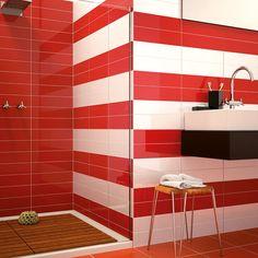 Red Tiles For Bathroom Interior Design Bathroom Red, Bathroom Floor Tiles, Shower Floor, Bathrooms, Shower Tiles, Bathroom Wall, Wall Tiles, Red Tiles, White Tiles