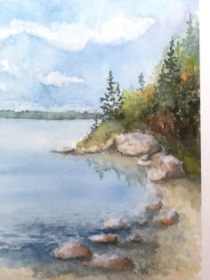 Calm Waters Watercolor Painting Techniques, Watercolor Pictures, Watercolor Projects, Watercolor Landscape Paintings, Watercolor Sketch, Watercolour Painting, Landscape Art, Watercolor Flowers, Painting & Drawing