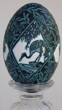 Hand engraved Emu egg