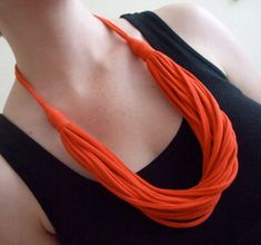 t-shirt necklace - I have done a lot of upcycling of t-shirts, I think I am going to try to make this!!:
