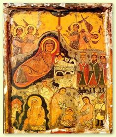 The Nativity, an encaustic folk art painting from the century- A icon from the Monastery of St. Catherine in the Sinai of Egypt Religious Images, Religious Icons, Religious Art, Images Of Mary, Old Images, Early Christian, Christian Art, Madonna, The Nativity Story