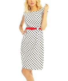 White & Black Polka Dot Belted Shift Dress by Pink Ocean #zulily #zulilyfinds