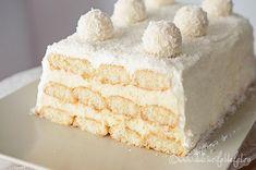 Raffaello cake with risotto - baking recipe without baking Vanilla Cake, Nutella, Chocolate Cake, Tiramisu, Oreo, Baking Recipes, Deserts, Food And Drink, Ice Cream