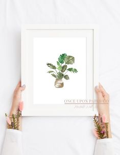 Monstera plant in pot painted in watercolor, Plant wall art, botanical wall art, Printable art, Plant print, watercolor print, plant art