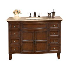 Silkroad Exclusive Claire English Chestnut Undermount Single Sink Bathroom Vanity with Travertine Top (Common: 49-in x 22-in; Actual: 48.5-in x 22-in)