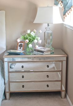 amazing interior design mirror bedside table, dresser with mirror, mirrored Mirrored Nightstand, Mirrored Furniture, Dresser With Mirror, Bedside Dresser, Glass Bedroom Furniture, Mirrored Table, Mirror Drawers, Glass Dresser, Diner Decor