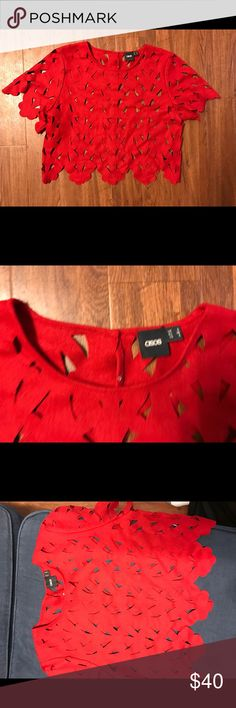 Asos red beautiful shirt Asos red cut out cropped shirt size US 4 ASOS Sweaters Crew & Scoop Necks