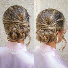Gorgeous side bun using BioSilk products for the perfect hold against humidity. By marianneshows