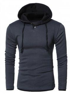 249e8fb42 Hooded Color Splicing Long Sleeve Hoodie - DEEP GRAY - XL