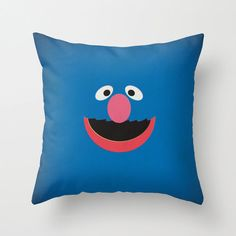 Sesame Street Character Grover Minimalist Pillow by www.etsy.com/shop/TheRetroInc