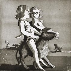Young Predators, etching and aquatint, 1987, by Paula Rego