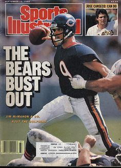 Bears Football, Football Cards, Football Helmets, Baseball Cards, Jim Mcmahon, Jose Canseco, Sports Illustrated Covers, Bear Signs, Vintage Magazines
