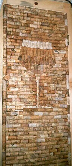 cork art  - love this, see it on one of my kitchen walls - everyone start drinking more wine & save me the corks - working on a bottle now....r u? : )
