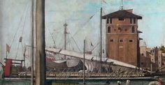 Venetian galea sottila, late 15th century. Detail from Vittore Carpaccio's Return of the Ambassadors to the English Court (1497–98),  Legend of Saint Ursula series. Accademia, Venice. The galea sottile (thin galley) was the typical warship galley of the Mediterranean, 9th-18th C; in peacetime also used for commercial transport of precious goods of small bulk, given the limited availability of space for cargo. Note oars arranged in groups of 3, according to the alla sensile rowing method.