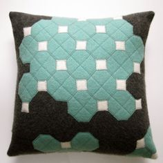 OCTAGON TILES FELT PILLOW in charcoal, made from recycled wool.