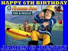 A4 Personalised Fireman Sam EDIBLE BIRTHDAY CAKE TOPPER ICING SHEET