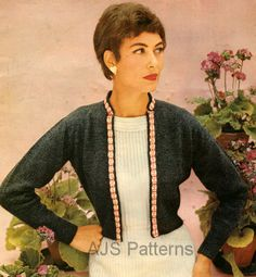 PDF Knitting pattern for a Bolero with a Fair Isle Banding Design - Vintage Knitting, Hand Knitting, Knitting Patterns, Crochet Patterns, Retro Pattern, Vintage Ladies, Knitwear, Knit Crochet, Vintage Fashion
